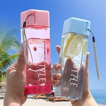 New Square Plastic Water Bottles 500ml Transparent Frosted Sport