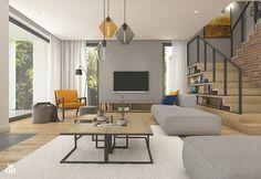 Dom pod Krakowem - przestrzeń zupełna - Duży salon z bibiloteczką z tarasem / balkonem, styl nowoczesny - zdjęcie od WERDHOME