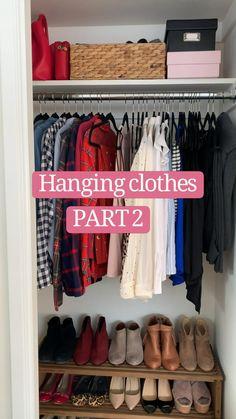 Small Closet Organization, Home Organization Hacks, Clothing Organization, Bedroom Organization Diy, Fridge Organization, Diy Clothes Life Hacks, Clothing Hacks, Closet Bedroom, Closet Space