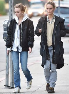 Family fortunes: Lily-Rose Depp seemed pleased to be going shopping with mother Vanessa Paradis in West Hollywood on Monday
