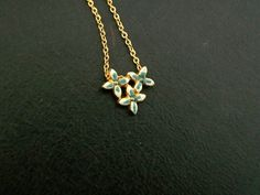 Delicate Painted Flower Necklace Gold Choker NOS by thedepo,