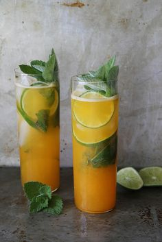 Apricot and Lime Mojito. Love me a mojito! Party Drinks, Cocktail Drinks, Fun Drinks, Cocktail Recipes, Beverages, Cold Drinks, Dinner Recipes, Dessert Recipes, Refreshing Drinks