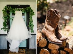 Big dresses and beautiful boots.  That's how you know you've got a pretty incredible rustic backyard wedding on your hands.   More from their big day at: http://www.sarahmaren.com/rustic-backyard-wedding-details  Sarah Maren Photography Sacramento, California Available World Wide