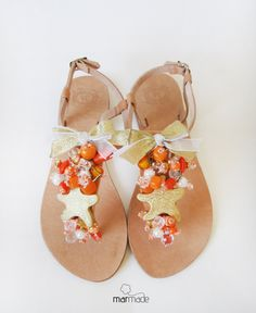 Handmade Leather Sandals with Gold Starfish and by MyMarmade, €42.00