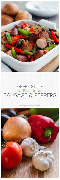 Greek Style Sausage and Peppers | www.kitchenconfidante