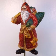Vintage Christmas Ornament old world Santa Early Plastic or Celluloid