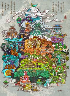 """the other side beyond the mist""   by *breathing2004  -- Glorious map of Pandaria in World of Warcraft"