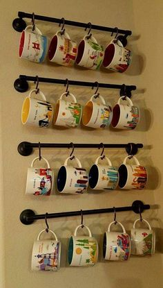 Make your coffee mug storage as unique as possible! Read this cool DIY coffee cu… Make your coffee mug storage Coffee Mug Storage, Coffee Mug Display, Coffee Mug Holder, Coffee Cups, Coffee Maker, Coffee Coffee, Coffee Cup Rack, Coffee Machine, Home Decor Ideas