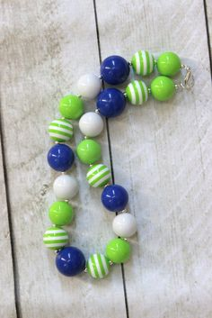 Seahawks girls chunky bubblegum bead necklace blue by LightningBugsLane,