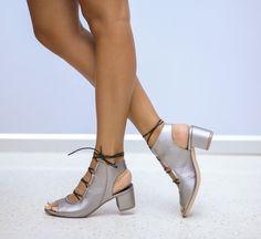 Sandale Gregor Gri Peeps, Peep Toe, Booty, Ankle, Shoes, Fashion, Footwear, Sandals, Moda