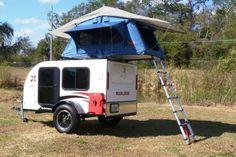 Teardrop camper trailer with roof