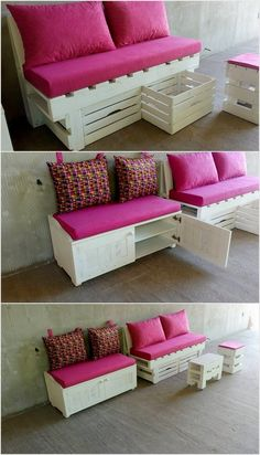 20 Plus Amazing Plans for Wooden Pallet Reusing: If you do think that modifying the wood pallet into something creative and innovative is one of the trickiest tasks then you are completely. Pallet Ideas For Bedroom, Diy Pallet Couch, Diy Pallet Furniture, Home Decor Furniture, Wooden Pallet Projects, Wooden Pallets, Pallet Wood, Diy Home Crafts, Diy Home Decor