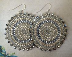 Silver Crystal Goddess Seed Bead Earrings  Big Bold by WorkofHeart