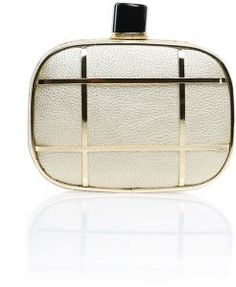 In Love Again gold clutch with metallic cage detail