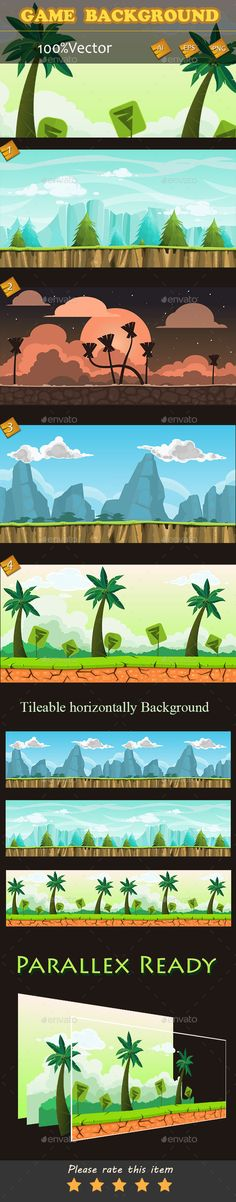 Game Backgrounds — Vector EPS #side #video game • Download here → https://graphicriver.net/item/game-backgrounds/10715644?ref=pxcr