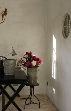 """limewash color on the walls is """"Old Stone Wall"""" from Sydney Harbour Paints. Trish from trouvais.com"""