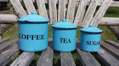 Check out this item in my Etsy shop https://www.etsy.com/listing/477897823/vintage-blue-enamel-ware-canister-sets