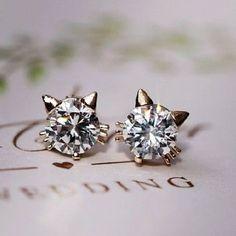 Cute Kitty Rhinestone Fashion Earrings | LilyFair Jewelry $12.99