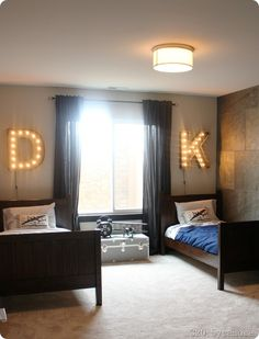 marquee letters and cool tile on wall
