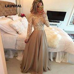 LASPERAL New 2017 Spring Autumn Elegant Vintage Lace Chiffon Long Dress Slim Long Sleeve Party Maxi Dresses Vestidos