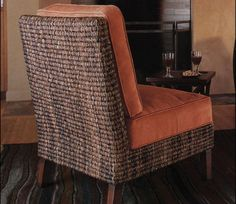 Woven chair with burnt orange cushions Burnt Orange Decor, Orange Cushions, Woven Chair, Prefab, Wingback Chair, Autumn Leaves, Home Accessories, Accent Chairs, Furniture
