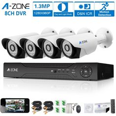 A-ZONE 8 Channel 1080P DVR AHD Home Security Cameras System kit W/ 4x HD 960P 1.3MP waterproof Night vision Indoor/Outdoor CCTV surveillance Bullet Camera, Quick Remote Access Setup Free App