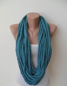 Neck Warmer  Chain Necklace  Wool Crochet Knit Scarf  by Umbrellaa, $18.00