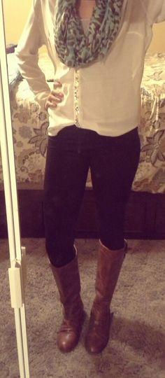 Fall outfit. Riding boots, leggings, chiffon shirt.