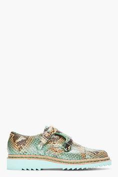 MUGLER Mint Python Buckled Monk Shoes
