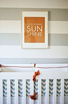Print. stripe walls.  great crib.