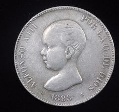 ***RARE* ** SPAIN SILVER COIN ALFONSO XIII 5 PESETAS 1888 *18*88 Madrid MS M.