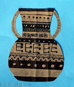 Kids Artists: Greek pottery Ancient Greek Art, Egyptian Art, Ancient Greece, Ancient Egypt, Ancient History, Greek Pottery, Pottery Art, Greek Crafts, Greece Art