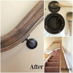 """'Stain' your wood railing with Chalk Paint® by Annie Sloan? YES. This unexpected surface gets a stylish makeover by Abigail of Patina & Purl, Blog and Etsy Shop. Graphite was used to color wash the drab wood which was finished with Soft Dark Wax to protect and deepen the color. She says, """"The best part: zero prep work. It cut down on time, money, and yucky stain smells."""""""