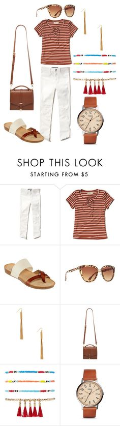 """""""summer casual"""" by ohm-dana on Polyvore featuring Hollister Co., Forever 21 and FOSSIL"""