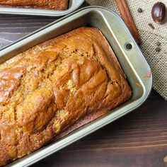It's not the holidays without Aunt Lynne's famous pumpkin bread - this recipe makes three loaves -- enough to enjoy yourself and share with friends! Pumpkin Pound Cake, Pumpkin Loaf, Moist Pumpkin Bread, Pumpkin Spice, Bread Recipes, Cooking Recipes, Holiday Bread, Fruit Bread, Quick Bread