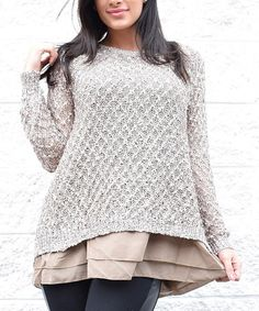 This Taupe Open-Back Layered Sweater is perfect! #zulilyfinds