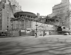 "Nov. 12, 1957. ""Solomon R. Guggenheim Museum, East 89th Street & Fifth Avenue, New York. Under construction II. Frank Lloyd Wright, architect."" Large-format acetate negative by Samuel H. Gottscho."
