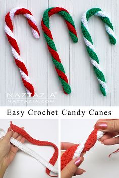 How to Crochet a Candy Cane - Naztazia ® Crochet Christmas Stocking Pattern, Crochet Christmas Decorations, Crochet Ornaments, Holiday Crochet, Crochet Snowflakes, Crochet Gifts, Easy Crochet, Christmas Crafts, Christmas Parties