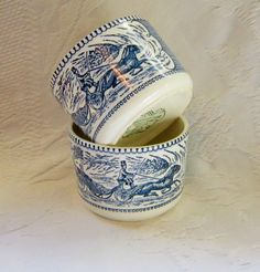 2  Blue White Currier and Ives Rare Coffee Soup Chili Mugs Him and Her Collectable Home Decor Housewares Serving. $82.95, via Etsy.
