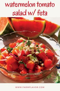 Today is National Watermelon Day! Celebrate with Watermelon Tomato Salad With Feta Cheese Two favorite summer flavors, watermelon and tomato, mix with red onions, basil, lime juice and feta cheese for a fruit salad that tastes like summer. Feta Tomato Salad, Watermelon Tomato Salad, Tomato And Onion Salad, Watermelon Salad Recipes, Tomato Salad Recipes, Fruit Salads, Side Recipes, Family Recipes, Vegan Recipes