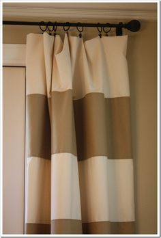 striped curtain tutorial, for the living room or maybe a shower curtain?