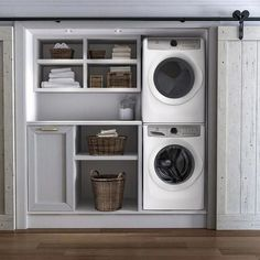 Laundry room cabinets get inspired by our laundry room storage ideas and designs. Allow us to help you create a functional laundry room with plenty of storage and wall cabinets that will keep your laundry. Small Laundry Rooms, Laundry Room Organization, Laundry Room Design, Laundry In Bathroom, Laundry In Kitchen, Basement Laundry, Laundry Room Doors, Closet Doors, Ideas For Laundry Room