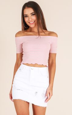 Showpo One For You crop top in blush stripe - 14 (XL) Crop Tops Summer Fashion Outfits, Girly Outfits, Classy Outfits, Teen Fashion, Trendy Outfits, Chic Outfits, Denim Skirt Outfits, Trendy Swimwear, Ripped Denim