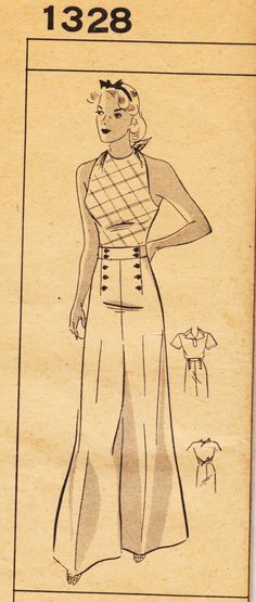 "RESERVED 1930s 34"" Bust - Mail Order Barbara Bell 1328 - 3-Piece Ensemble - Wide-legged Pants, Halter-top & Blouse - Unused"