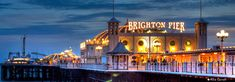 Brighton Pier or the Palace Pier if you are a Brightonian Brighton City, Brighton England, Create Your Own Wallpaper, High Quality Wallpapers, Walking Tour, Taj Mahal, Tours, Mansions, House Styles