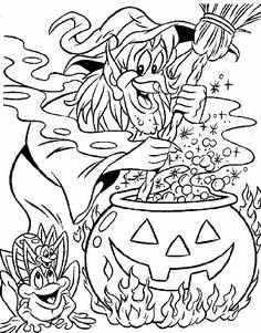 kleurplaat Halloween - Heks