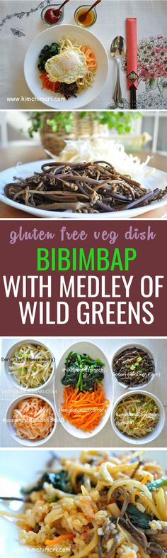 Bibimbap, a classic Korean dish. This one is extra healthy with wild greens often found in mountains :) Veg Dishes, Vegetarian Main Dishes, Dinner Dishes, Rice Dishes, Food Dishes, Best Healthy Dinner Recipes, Easy Healthy Dinners, Real Food Recipes, Cooking Recipes