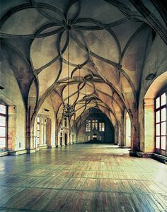 "Great Hall, Prague Castle, Czech Republic ~ Was this the inspiration for the Elvish castle in the ""Lord of the Rings"" movies?"