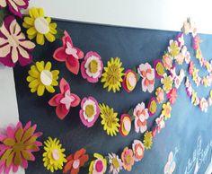 Flower Garland Flower Banner Felt Flower by TheLilFeltShoppe