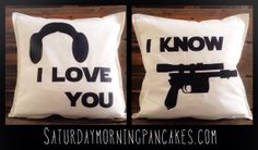 Star Wars Love Throw Pillow Set por SatMorningPancakes en Etsy, $55.00